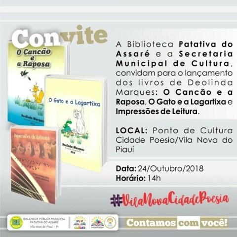 Professora Deolinda Marques lança livros em Vila Nova do Piauí