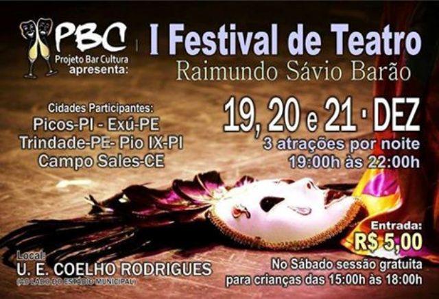 Projeto Bar Cultural realizará I Festival de Teatro