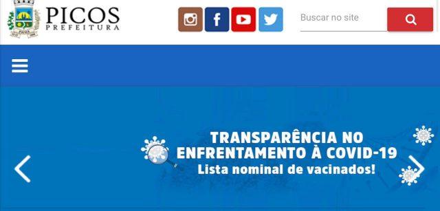 Picos se destaca na transparência da vacinação contra a Covid-19, conheça a lista nominal de vacinados