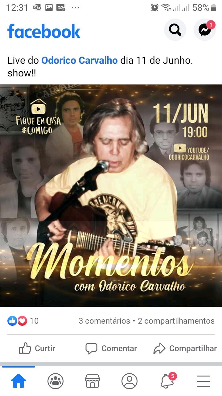 Odorico Carvalho realizará live nesta quinta-feira, 11 de Junho