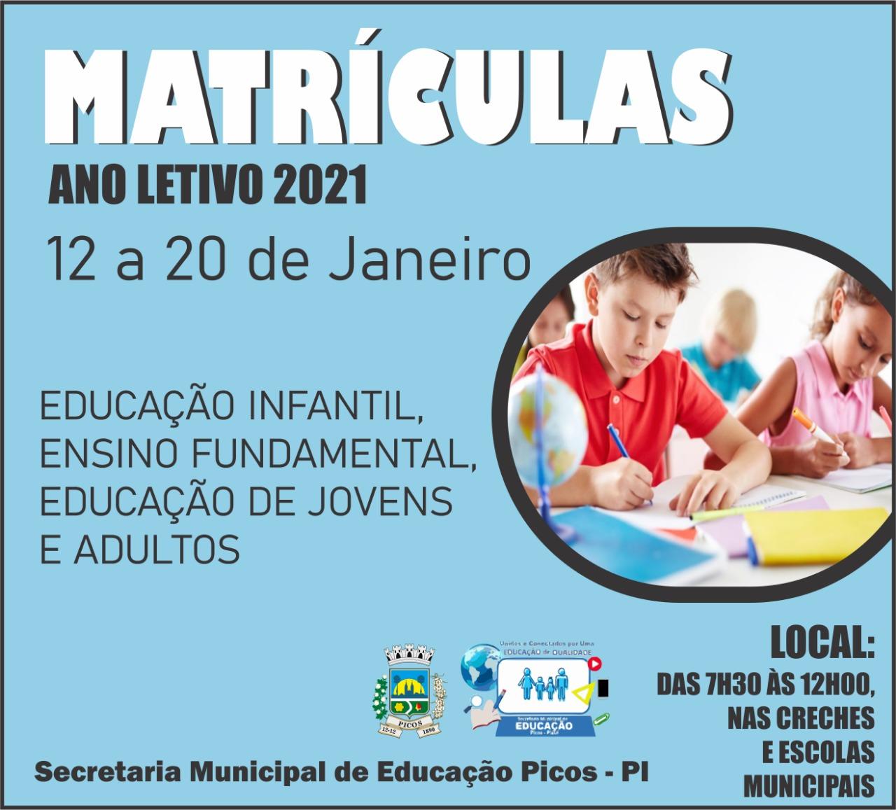 Matrículas para escolas da rede municipal de Picos começam nesta terça-feira (12)
