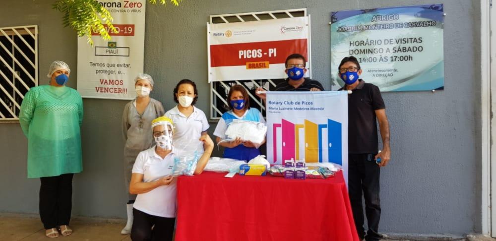 Rotary Club de Picos entrega material para combate à covid-19 ao abrigo Joaquim Monteiro de Carvalho