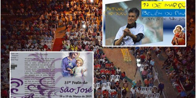 Igreja Católica de Belém do Piauí divulga programação dos festejos de São José; Cantor Antonio Cardoso é atração confirmada!