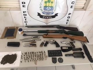 Suspeito de agiotagem é preso com arsenal e drogas em município do Piauí