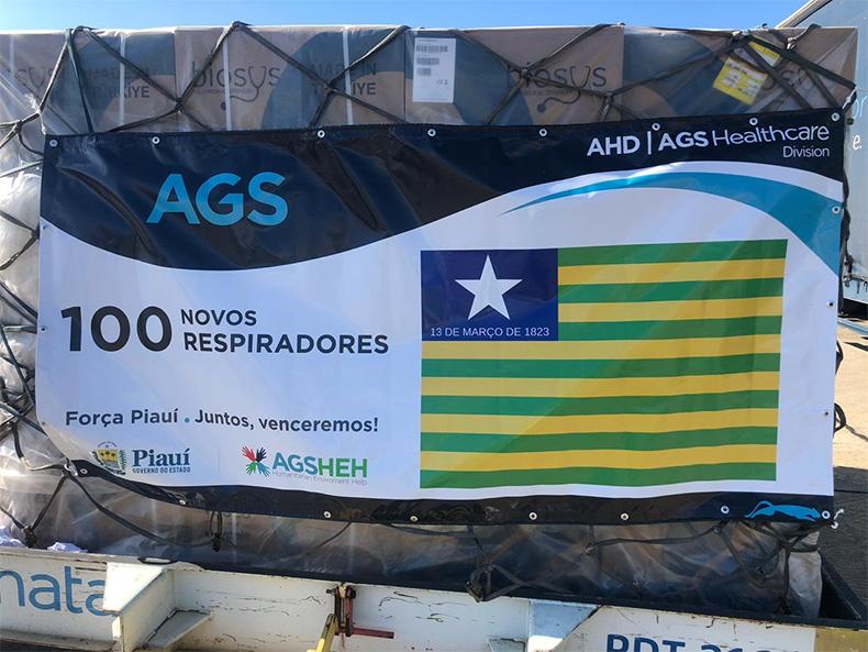 Chega ao Brasil, 170 respiradores comprados pelo governo do Piauí e prefeitura de Teresina