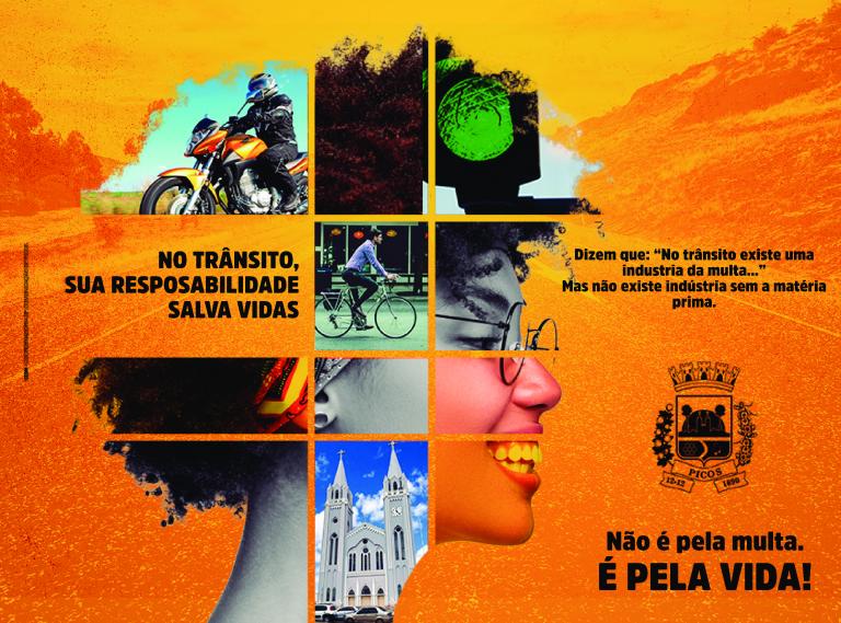 Campanha 'No trânsito, sua responsabilidade salva vidas' faz ação em Picos nesta terça-feira (02)